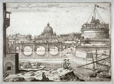 St. Peters and the Castel SantAngelo from the Tiber, probably one from a set of Twenty-five Views of Rome and Environs (published in 1665 or 1667)