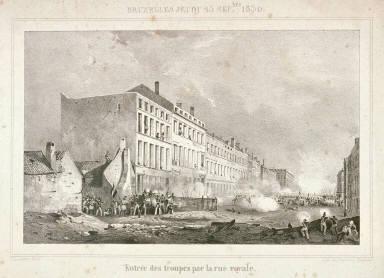 One of four scenes of 1830 revolution in Brussels: Entrée des troupes par la rue royale