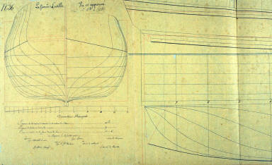 Longitudinal and Cross Section of a Sailing Barge