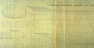Longitudinal and Cross Sections of a Shallop (Longboat)