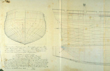 Longitudinal and Cross Sections of a Frigate