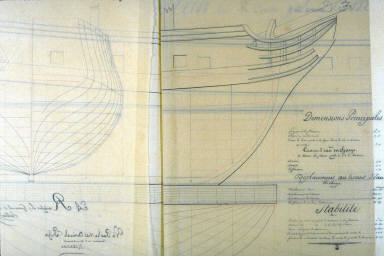 Longitudianal and Cross Section of the Ship L'Egerie