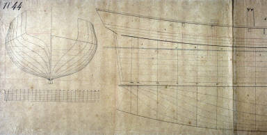 Longitudinal and Cross Section of a Ship (Le Goelan and La Mouche)