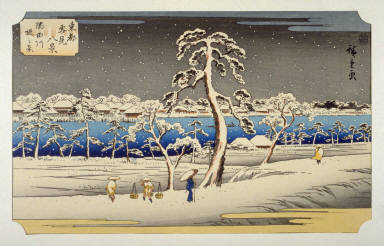 Sumidagawa Tsutsumi no Kei (View from the Sumida River Embankment) - Pl. F from the portfolio Eight Snow Scenes in the Eastern Capital