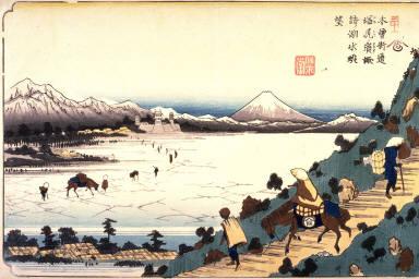 View of Lake Suwa from Shiojiri Pass, Station 31 on the Kisokaido (Shiojiri toge suwa no kosui chobo), from the series Sixty-nine Stations of the Kisokaido (Kisoji no eki)