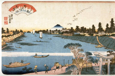 Descending Geese on the Sumida River (Sumidagawa no rakugan) from the series Eight Views of Edo (Edo hakkei)