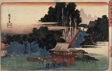 Visit to the Fudo Temple in Meguro (Meguro fudo mairi), one from a series Famous Places in Edo (Edo meisho)