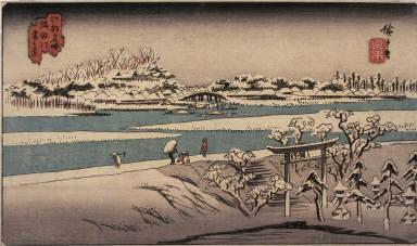 Snow on the Sumida River (Sumidagawa yuki no kei), from a series of Famous Places in Edo (Edo meisho)
