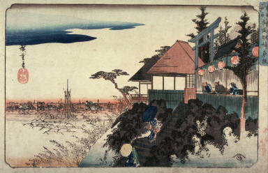 Eastern Approach to the Myojin Shrine in Kanda (Kanda myojin higashizaka), from a series Famous Places in the Eastern Capital (Toto meisho)