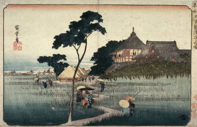 Snail Hall at the Five Hundred Rakan Temple (Gohyakurakan sazaido), from a series Famous Places in the Eastern Capital (Toto meisho)