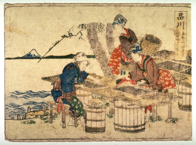 Shinagawa, no. 2 from an untitled Tokaido series (reissue of Hokusai's Tokaido series for poetry circle of Okazaki)