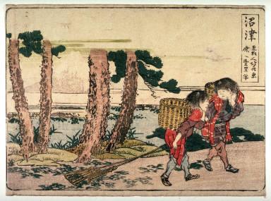 Numazu, no. 13 from an untitled Tokaido series (reissue of Hokusai's Tokaido series for poetry circle of Okazaki)