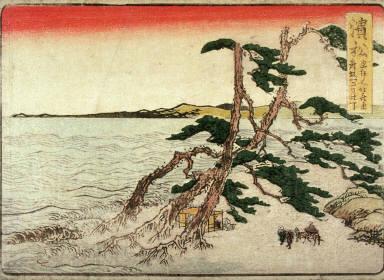Hamamatsu, no. 31 from an untitled Tokaido series (reissue of Hokusai's Tokaido series for poetry circle of Okazaki)