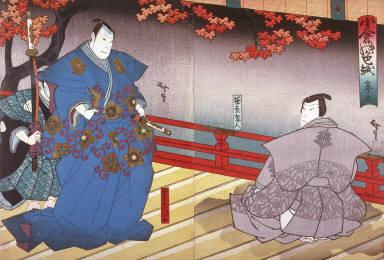 The Actors Jitsukawa Insaburo as Sasahara Sammannosuke and and Kataoka Gado as the Ghost of Sasahara Kurando in Act III of the play Oguri no shikishi