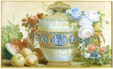 A China Urn with Flowers and Fruits on a Ledge