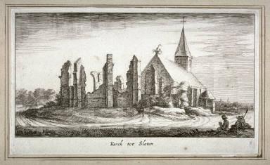 Kerck tot Sloten (Church at Sloten), pl. 8 from a set of thirteen, Plaisante Lantschappen..na tLeven geteekent door Roelant Roghman...(Pleasant Landscapes...after Roelant Roghman...)