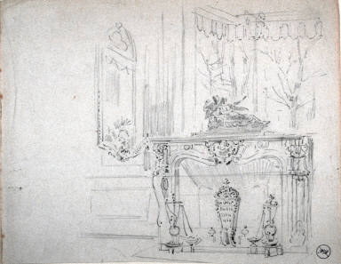 Recto: Untitled (Interior Scene with Fireplace)Verso: Untitled (Fireplace Detail)