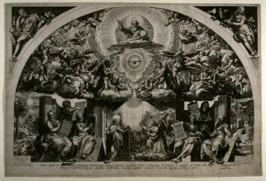 The Annunciation (surrounded by six prophets), copy of the engraving by Cornelis Cort after the fresco by Federico Zuccaro in now destroyed Church of Santa Maria Annunziata in Rome