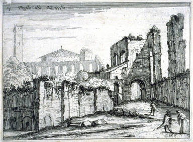Presso alla Navicella (Near the Navicella [Fountain], pl. 14 from the series Alcune vedute et prospettive di luoghi dishabitati di Roma (Some Views and Perspectives of the Uninhabited Places of Rome)e