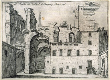Cartille [sic] del Cardinal di Fiorenza Leone XI (Courtyard of the Cardinal of Florence Leo XI), pl. 26 from the series Alcune vedute et prospettive di luoghi dishabitati di Roma (Some Views and Perspectives of the Uninhabited Places of Rome)