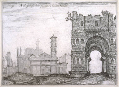 A St. Giorgio doux pagatano j Soldati Romani (At S. Giorgio, Where They Paid the Roman Soldiers), pl. 30 from the series Alcune vedute et prospettive di luoghi dishabitati di Roma (Some Views and Perspectives of the Uninhabited Places of Rome)