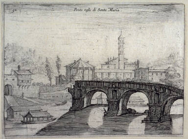 Ponto resto di Santa Maria (Remains of the Santa Maria Bridge[ Ponte Rotto]), pl. 32 from the series Alcune vedute et prospettive di luoghi dishabitati di Roma (Some Views and Perspectives of the Uninhabited Places of Rome)