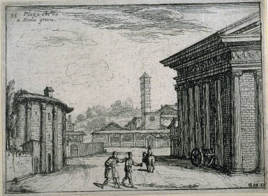 Piaza che va a Scola greca (Piazza That Goes to the Greek School), pl. 35 from the series Alcune vedute et prospettive di luoghi dishabitati di Roma (Some Views and Perspectives of the Uninhabited Places of Rome)