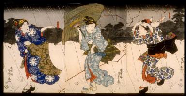 Three Women in a Thunder Shower near Mimeguri Shrine
