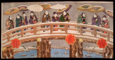 Snow in the Konan District of Osaka: Actors on the Tenjin Bridge over the Yodo River (Naniwa konan yuki no keishiki)
