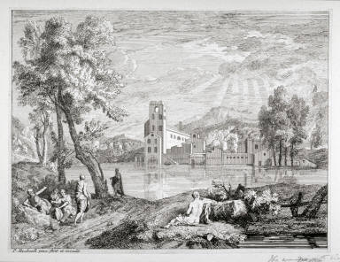Landscape, Sun behind clouds, figures in foreground