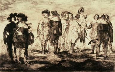 Les petits cavaliers (The little cavaliers), pl. 2 from the portfolio Huit gravures à l'eau forte par Manet (Eight etchings by Manet) (Paris: Cadart, 1862) after a painting attributed to Diego Rodrigo de Silva y Velásquez