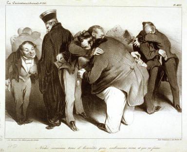 Nous sommes tous d'honnêtes gens, embrassons-nous, et que ça finisse., pl. 439 from La Caricature (Journal) No. 210., published 13 November 1834