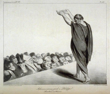 Athéniens prenez garde à Philippe!/(Démosthènes aux Athéniens), pl. 454 from La Caricature (Journal) No. 218., published 8 January 1835