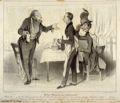 Robert Macaire au restaurant, no. 19 from the series Caricaturana, published in Le Charivari 28 December 1836