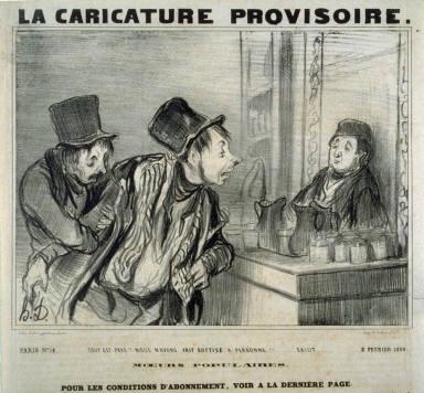 Tout est payé? Nous n'avons fait sottise a personne!!... Salut... no. 31 from the series Types Parisiens published in La Caricature 3 February, 1839