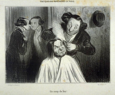 Un coup de feu! no. 5 from the series Les pratiques des marchands de Paris published in La Caricature 27 October 1839