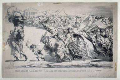 Grand défilé de l'armée qui vient d'être levée pour entreprendre la fameuse expédition de Rome à lintérieur no. 158 of the series Actualités