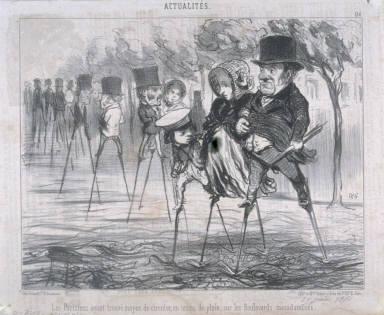 Les Parisiens ayant trouvé le moyen de circuler, en temps de pluie, sur les Boulevards macadamisés. no. 156 of the series Actualités published in Le Charivari 29 June 1850