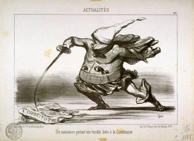 Un matamore portant une terrible botte à la Constitution no. 182 from the series Actualités