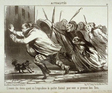 L'ennemi des chiens ayant eu l'imprudence de quitter Auteuil pour venir se promener dans Paris. no. 19 of the series Actualités