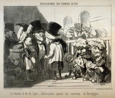 Le chemin de fer de Lyon - Embarcadère spécial des nourrices de Bourgogne. no. 1 of the series Physionomies des chemin de fer