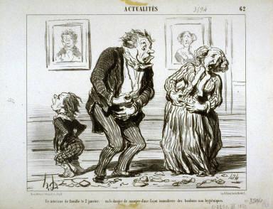 Un interieur de famille le 2 Janvier, ou le danger de manger d'une façon immodérée des bonbons non-hygiéniques. no. 62 of the series Actualités