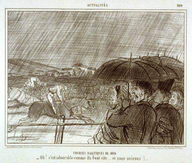 Courses nautiques de 1856/ -Oh! c'est admirable comme ils vont vîte..... et sans avirons !.... no.309 from the series Actualités