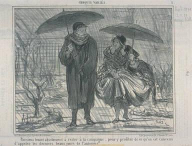 Parisiens tenant absolument à rester à la campagne, pour y profiter de ce qu'on est convenu d'appeler les derniers beaux jours de l'automne...published in Le Charivari 23 November 1858