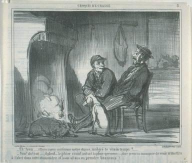 _Eh! bien... allons-nous continuer notre chasse, malgré le vilain temps?...... no. 5 from the series Croquis de chasse published in Le Charivari 14 October1859