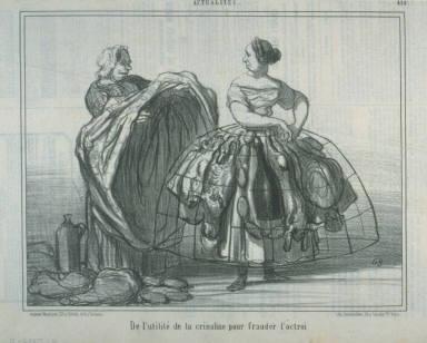 De l'utilité de la crinoline pour frauder l'octroi (On the Usefulness of Crinoline to Avoid the City Toll), no. 414 of the series Actualités published in Le Charivari 19 June 1857