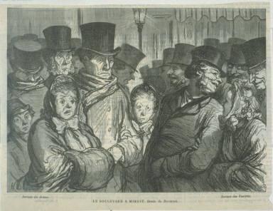 Le Boulevard à minuit after a drawing by Daumier