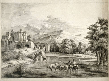 Roman Landscape with 2 fishermen, 2 cattle and woman on a horse