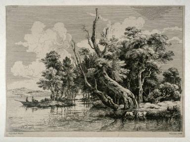 Landscape with River, boats, fishermen