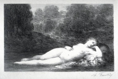 Eau Dormante (Reclining nude female figure in a landscape)